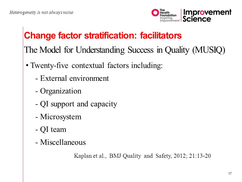 Change factor stratification: facilitators The Model for Understanding Success in Quality (MUSIQ) Heterogeneity is not always noise 17 Twenty-five contextual factors including: -External environment -Organization -QI support and capacity -Microsystem -QI team -Miscellaneous Kaplan et al., BMJ Quality and Safety, 2012; 21:13-20