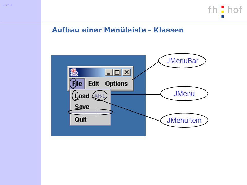 FH-Hof Aufbau einer Menüleiste - Klassen JMenuBarJMenu JMenuItem