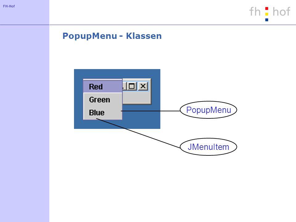 FH-Hof PopupMenu - Klassen PopupMenu JMenuItem