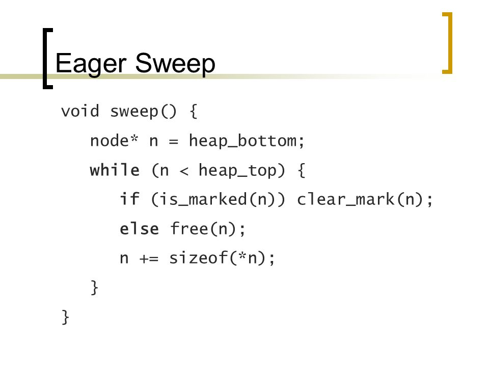 Eager Sweep void sweep() { node* n = heap_bottom; while (n < heap_top) { if (is_marked(n)) clear_mark(n); else free(n); n += sizeof(*n); }