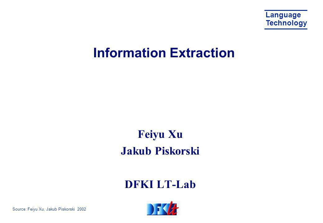 Source: Feiyu Xu, Jakub Piskorski 2002 Language Technology Overview Introduction to information extraction SPPC Survey of information extraction approaches MUC conferences