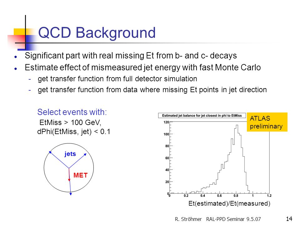 R. Ströhmer RAL-PPD Seminar 9.5.07 14 QCD Background Significant part with real missing Et from b- and c- decays Estimate effect of mismeasured jet en