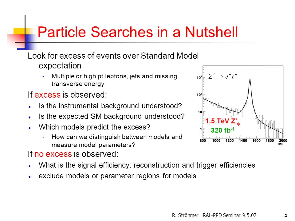 R. Ströhmer RAL-PPD Seminar 9.5.07 5 Particle Searches in a Nutshell Look for excess of events over Standard Model expectation -Multiple or high pt le