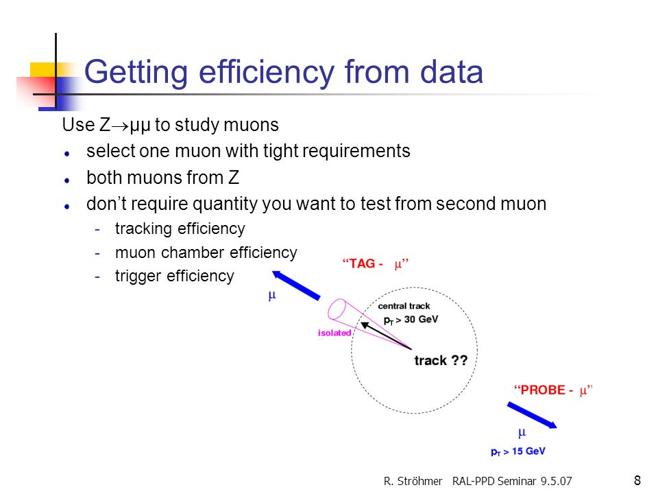R. Ströhmer RAL-PPD Seminar 9.5.07 8 Getting efficiency from data Use Z µµ to study muons select one muon with tight requirements both muons from Z do