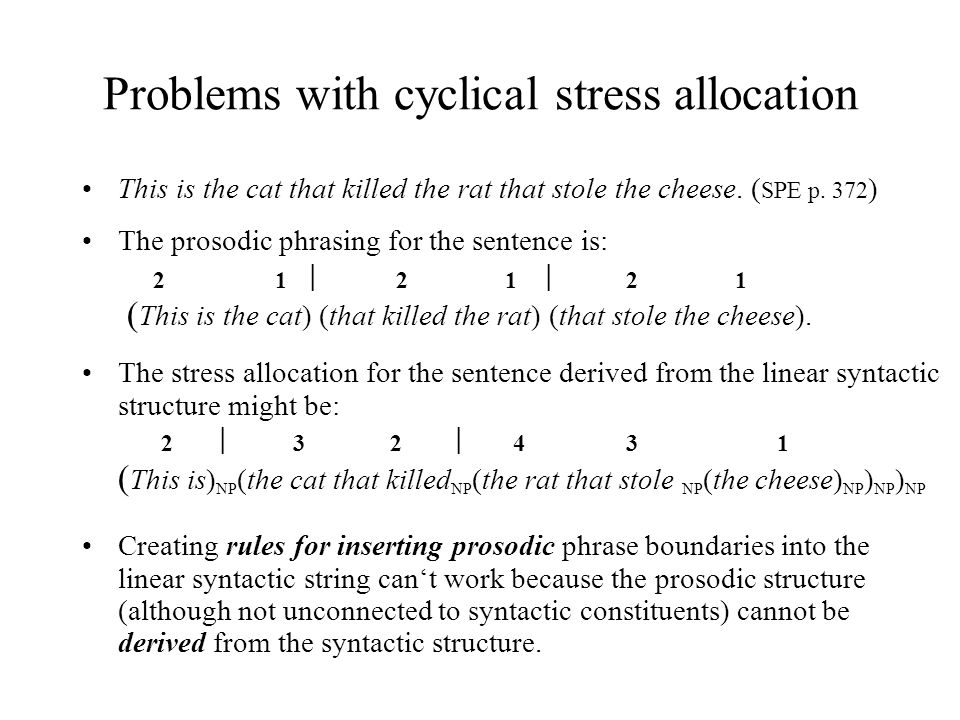 Problems with cyclical stress allocation This is the cat that killed the rat that stole the cheese.