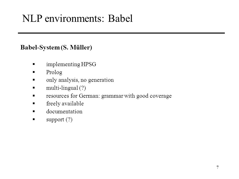 7 NLP environments: Babel Babel-System (S.