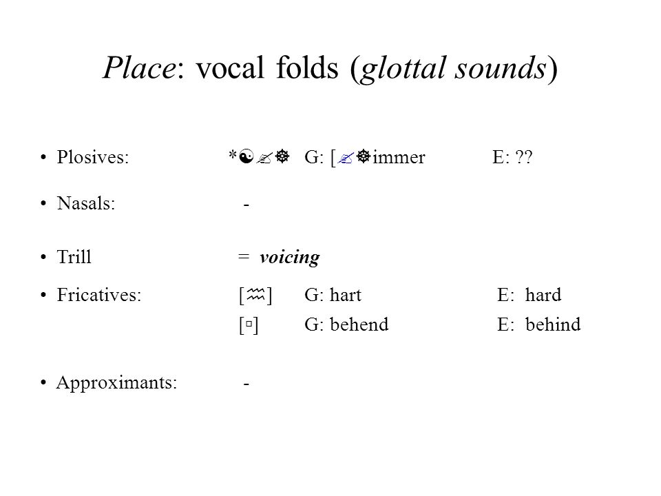 Place: vocal folds (glottal sounds) Plosives: * [?] G: [ ?] immer E: ?? Nasals: - Fricatives: [ h ] G: hart E: hard [ ] G: behend E: behind Approximan