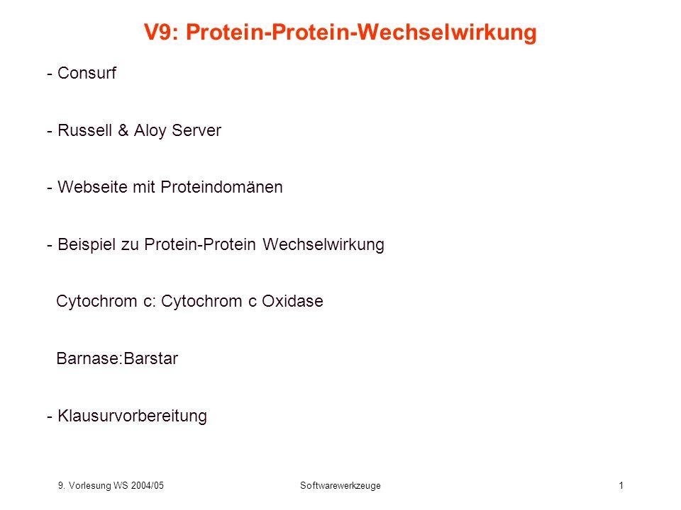 9. Vorlesung WS 2004/05Softwarewerkzeuge1 V9: Protein-Protein-Wechselwirkung - Consurf - Russell & Aloy Server - Webseite mit Proteindomänen - Beispie