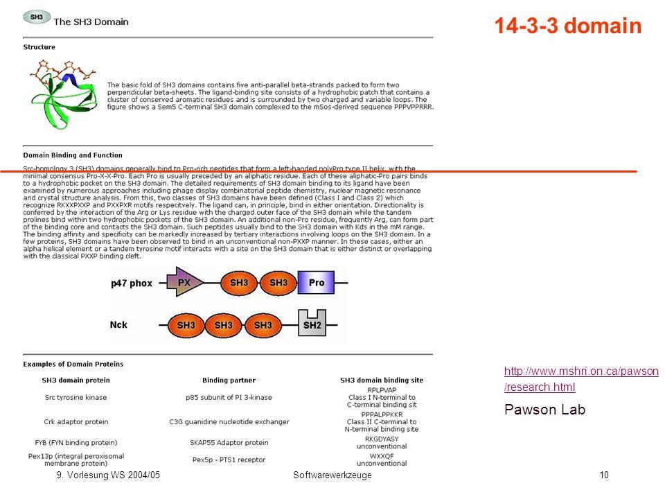 9. Vorlesung WS 2004/05Softwarewerkzeuge10 14-3-3 domain http://www.mshri.on.ca/pawson /research.html Pawson Lab