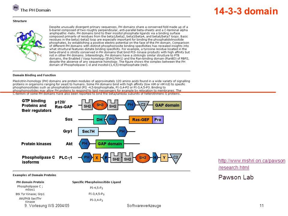 9. Vorlesung WS 2004/05Softwarewerkzeuge11 14-3-3 domain http://www.mshri.on.ca/pawson /research.html Pawson Lab