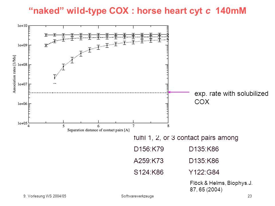 9. Vorlesung WS 2004/05Softwarewerkzeuge23 fulfil 1, 2, or 3 contact pairs among D156:K79D135:K86 A259:K73D135:K86 S124:K86Y122:G84 naked wild-type CO