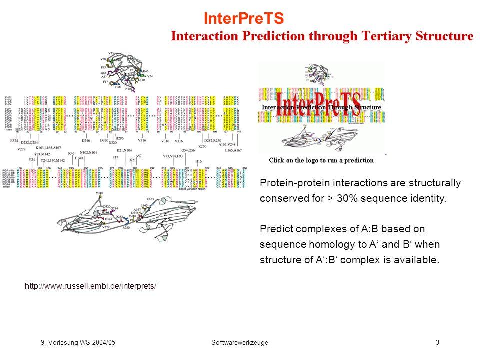 9. Vorlesung WS 2004/05Softwarewerkzeuge3 InterPreTS http://www.russell.embl.de/interprets/ Protein-protein interactions are structurally conserved fo