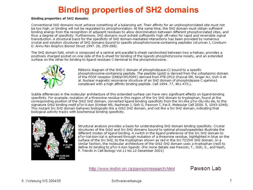 9. Vorlesung WS 2004/05Softwarewerkzeuge7 Binding properties of SH2 domains http://www.mshri.on.ca/pawson/research.html http://www.mshri.on.ca/pawson/