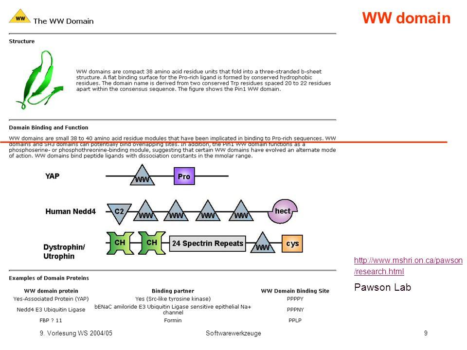 9. Vorlesung WS 2004/05Softwarewerkzeuge9 WW domain http://www.mshri.on.ca/pawson /research.html Pawson Lab