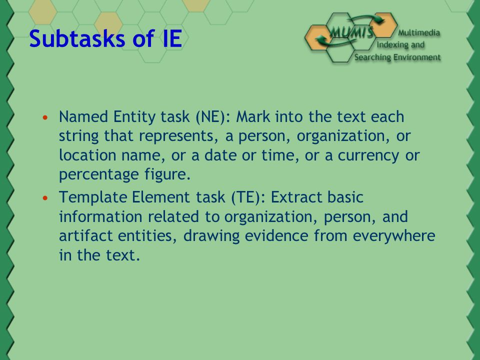 Subtasks of IE Named Entity task (NE): Mark into the text each string that represents, a person, organization, or location name, or a date or time, or a currency or percentage figure.