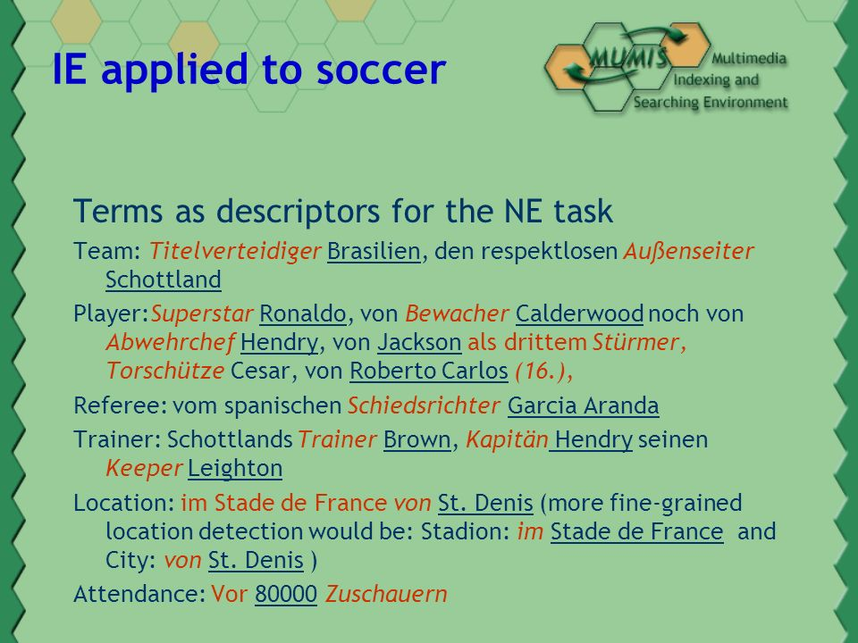 IE applied to soccer Terms as descriptors for the NE task Team: Titelverteidiger Brasilien, den respektlosen Außenseiter Schottland Player:Superstar Ronaldo, von Bewacher Calderwood noch von Abwehrchef Hendry, von Jackson als drittem Stürmer, Torschütze Cesar, von Roberto Carlos (16.), Referee: vom spanischen Schiedsrichter Garcia Aranda Trainer: Schottlands Trainer Brown, Kapitän Hendry seinen Keeper Leighton Location: im Stade de France von St.