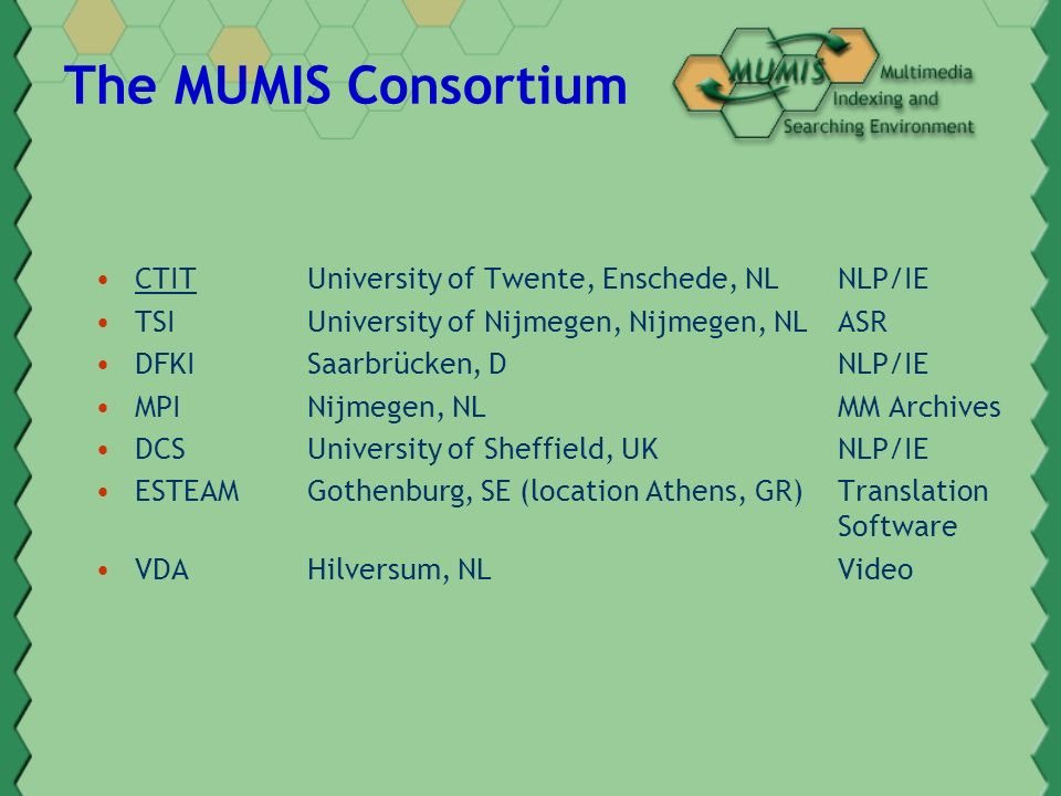 The MUMIS Consortium CTITUniversity of Twente, Enschede, NLNLP/IE TSI University of Nijmegen, Nijmegen, NLASR DFKISaarbrücken, DNLP/IE MPI Nijmegen, NLMM Archives DCSUniversity of Sheffield, UKNLP/IE ESTEAMGothenburg, SE (location Athens, GR)Translation Software VDAHilversum, NL Video