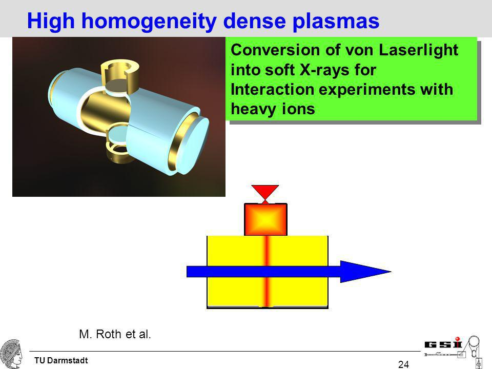 TU Darmstadt 24 Conversion of von Laserlight into soft X-rays for Interaction experiments with heavy ions Conversion of von Laserlight into soft X-rays for Interaction experiments with heavy ions High homogeneity dense plasmas M.