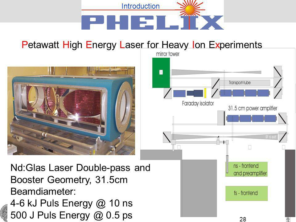TU Darmstadt 28 Nd:Glas Laser Double-pass and Booster Geometry, 31.5cm Beamdiameter: 4-6 kJ Puls 10 ns 500 J Puls 0.5 ps Petawatt High Energy Laser for Heavy Ion Experiments Introduction