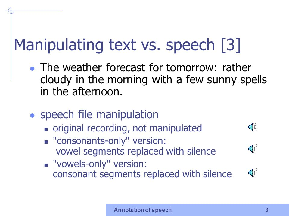 Annotation of speech 1 Manipulating text vs.