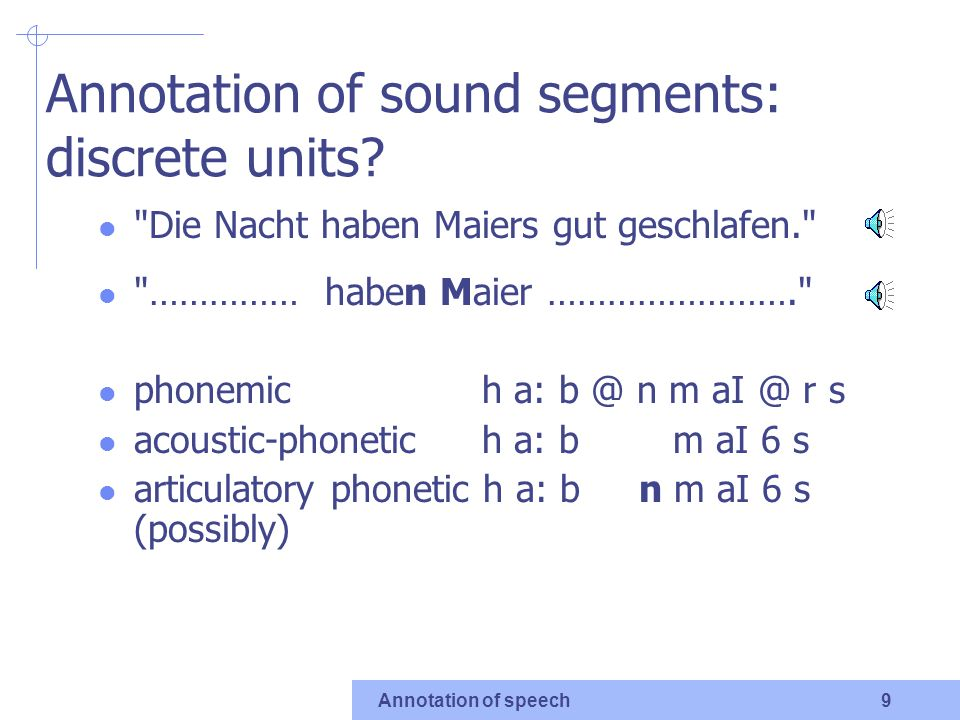 Annotation of speech 7 Speech melody information about fundamental frequency (F0) in the voiced vowel segments with F0 variation without any F0 variation (monotonous)