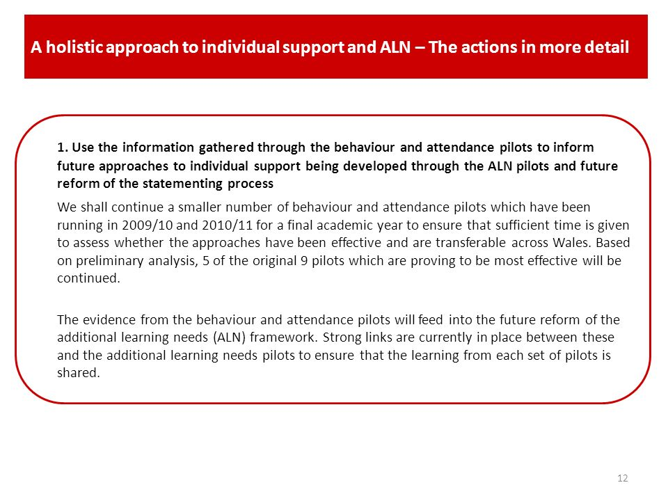 A holistic approach to individual support and ALN– The actions in more detail (continued).