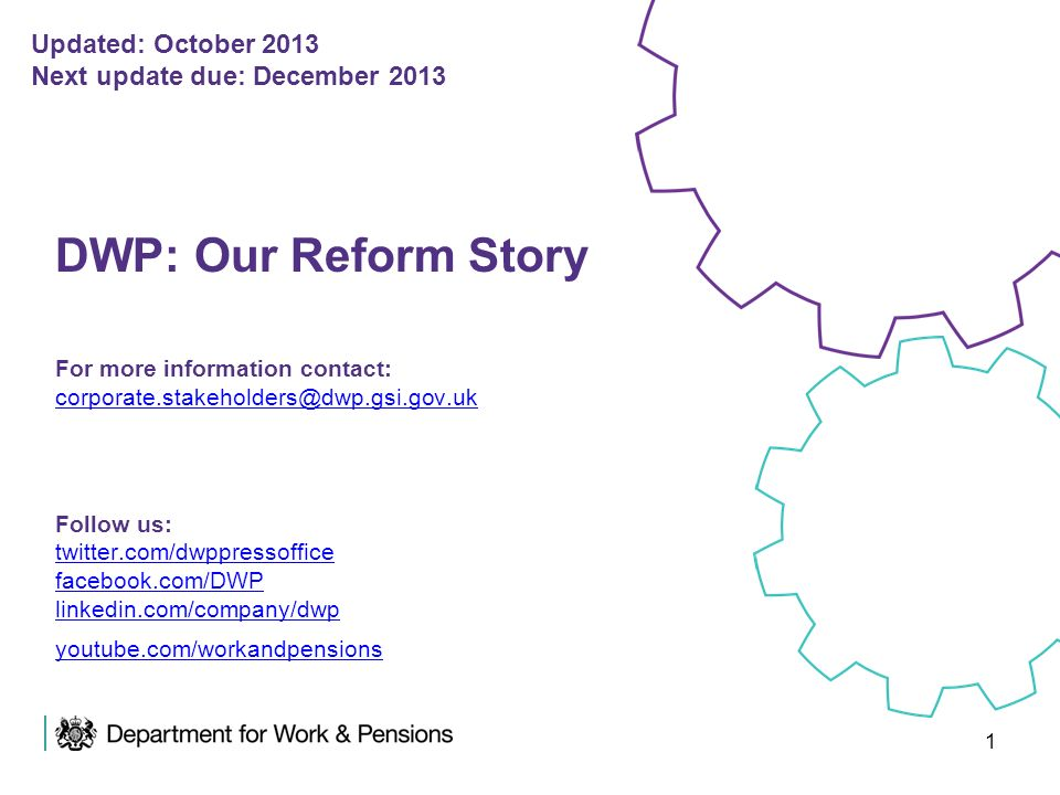 1 DWP: Our Reform Story For more information contact: corporate.stakeholders@dwp.gsi.gov.uk Follow us: twitter.com/dwppressoffice facebook.com/DWP lin
