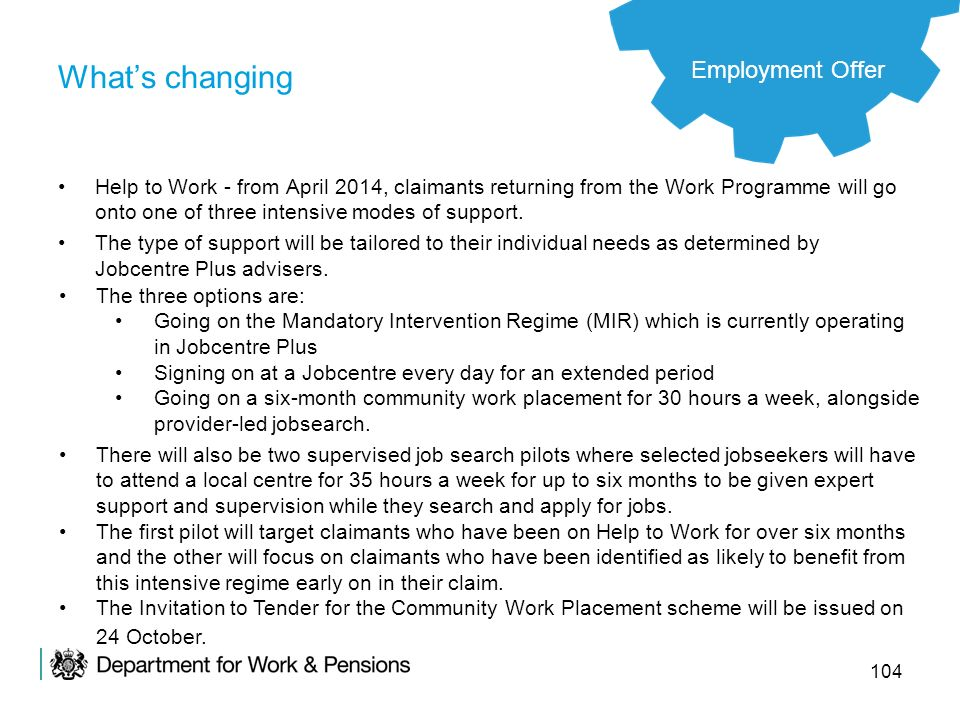 104 Whats changing Help to Work - from April 2014, claimants returning from the Work Programme will go onto one of three intensive modes of support. T