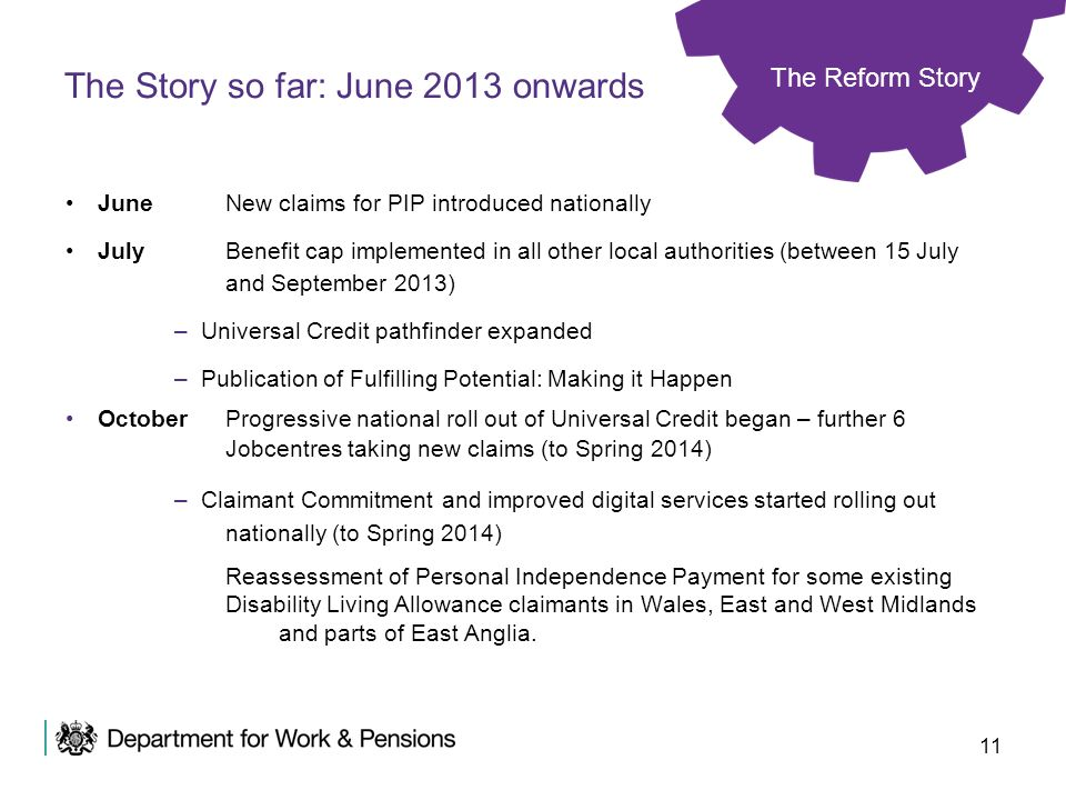 11 June New claims for PIP introduced nationally JulyBenefit cap implemented in all other local authorities (between 15 July and September 2013) –Univ