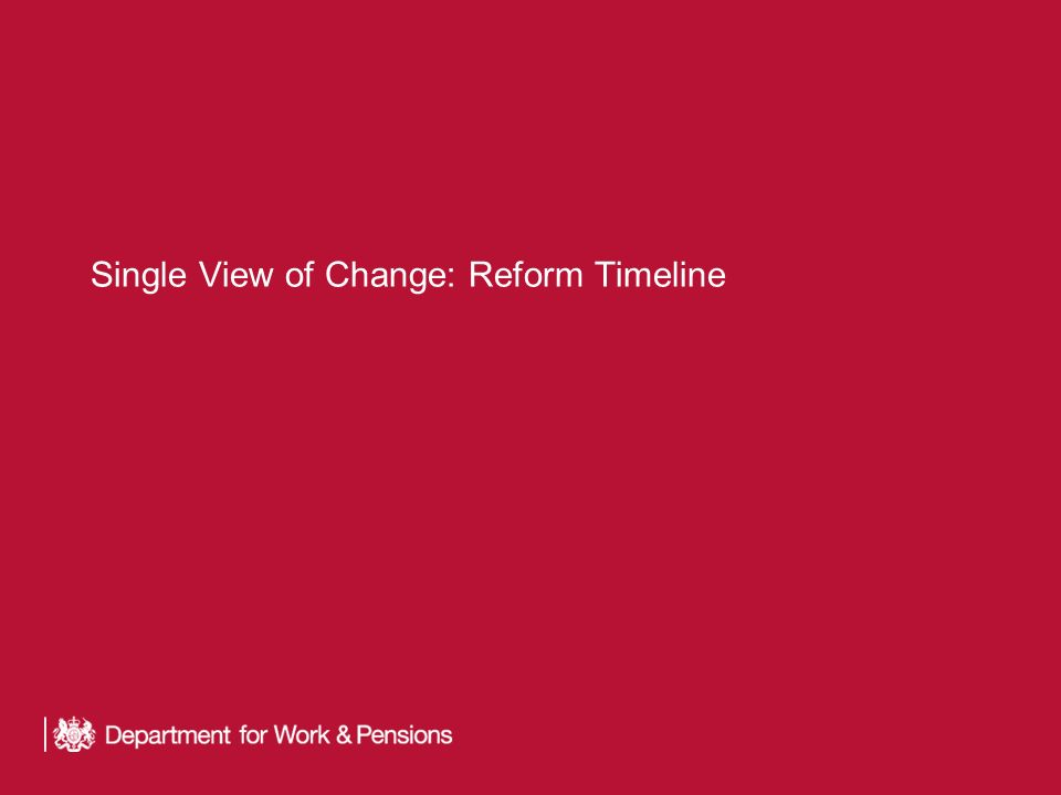 Single View of Change: Reform Timeline