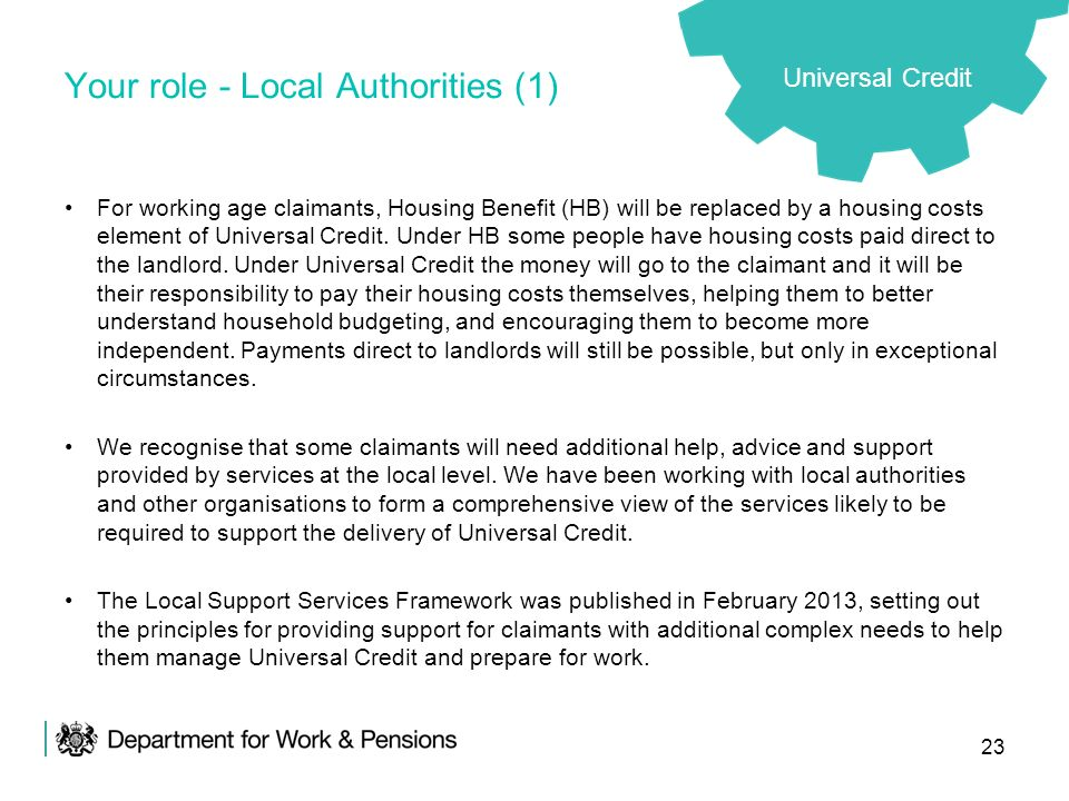 23 Your role - Local Authorities (1) For working age claimants, Housing Benefit (HB) will be replaced by a housing costs element of Universal Credit.