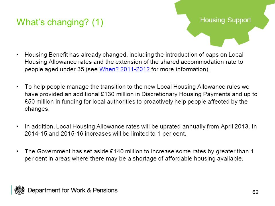 62 Whats changing? (1) Housing Benefit has already changed, including the introduction of caps on Local Housing Allowance rates and the extension of t