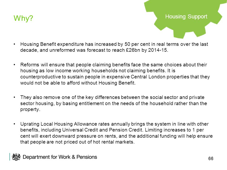 66 Why? Housing Benefit expenditure has increased by 50 per cent in real terms over the last decade, and unreformed was forecast to reach £26bn by 201