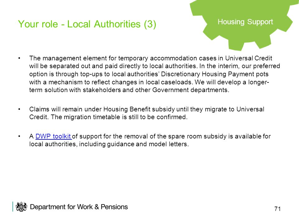 71 Your role - Local Authorities (3) The management element for temporary accommodation cases in Universal Credit will be separated out and paid direc