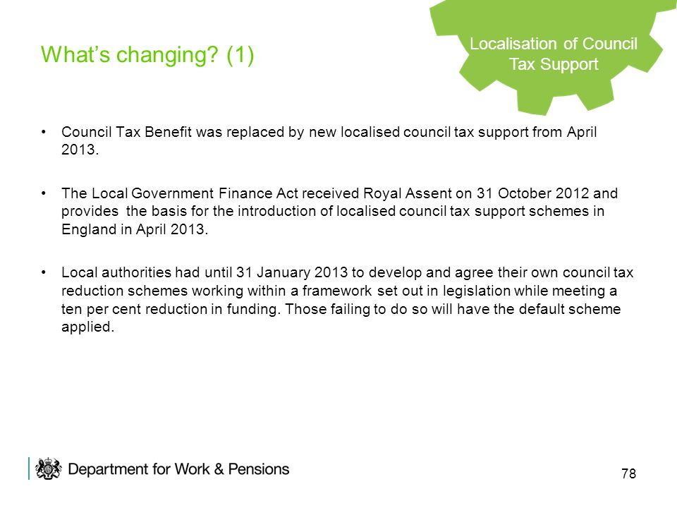 78 Council Tax Benefit was replaced by new localised council tax support from April 2013. The Local Government Finance Act received Royal Assent on 31