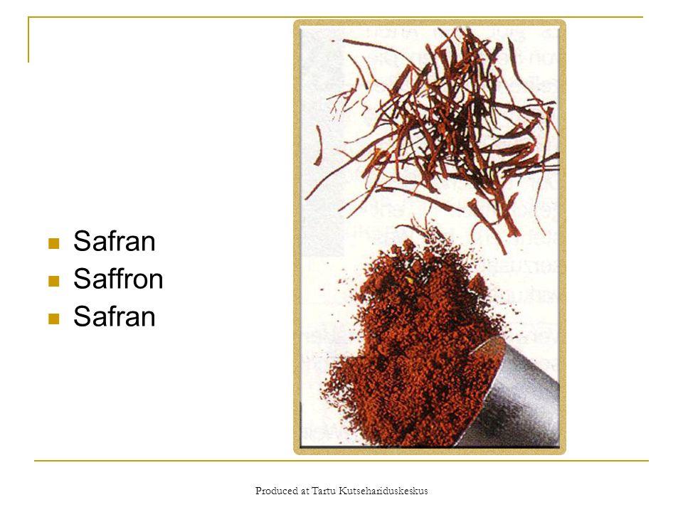 Produced at Tartu Kutsehariduskeskus Safran Saffron Safran