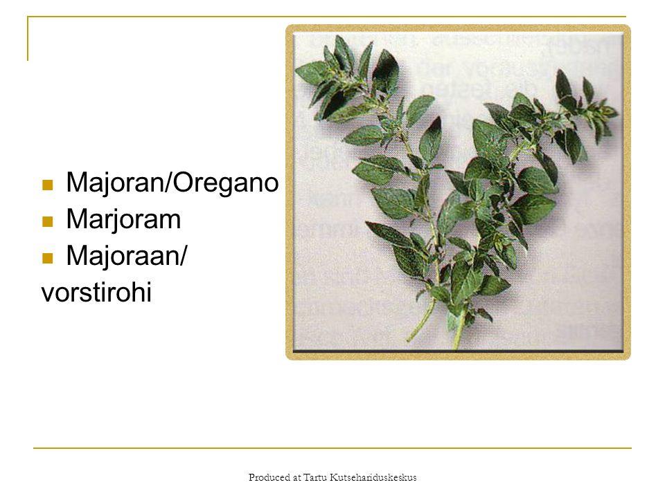 Produced at Tartu Kutsehariduskeskus Majoran/Oregano Marjoram Majoraan/ vorstirohi