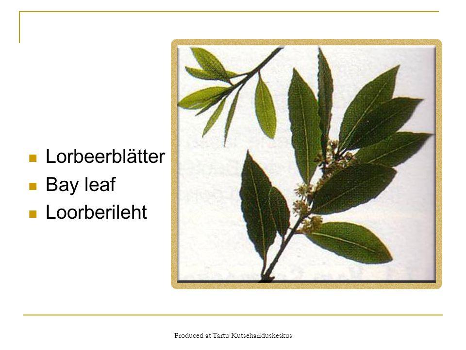 Produced at Tartu Kutsehariduskeskus Lorbeerblätter Bay leaf Loorberileht
