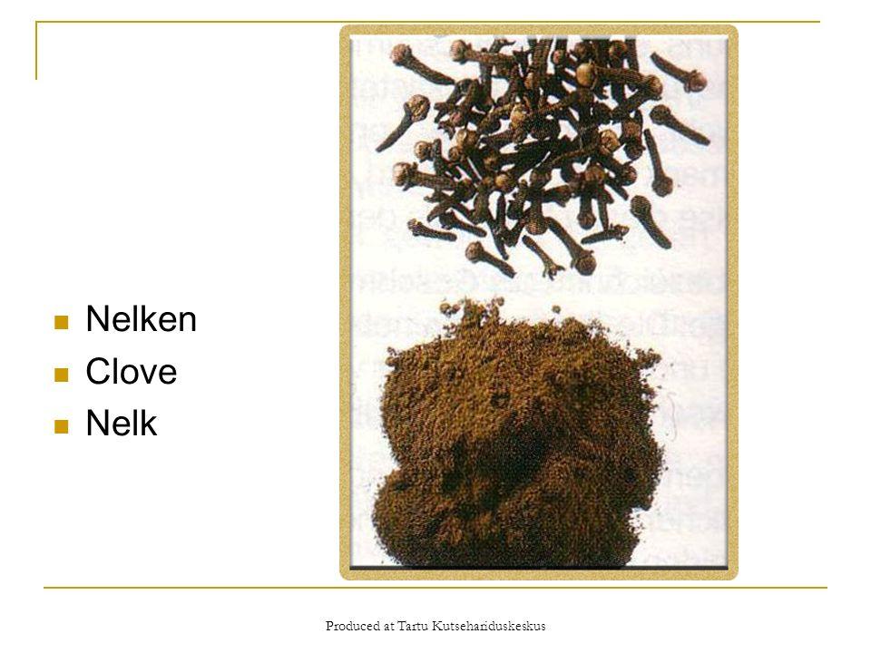 Produced at Tartu Kutsehariduskeskus Nelken Clove Nelk