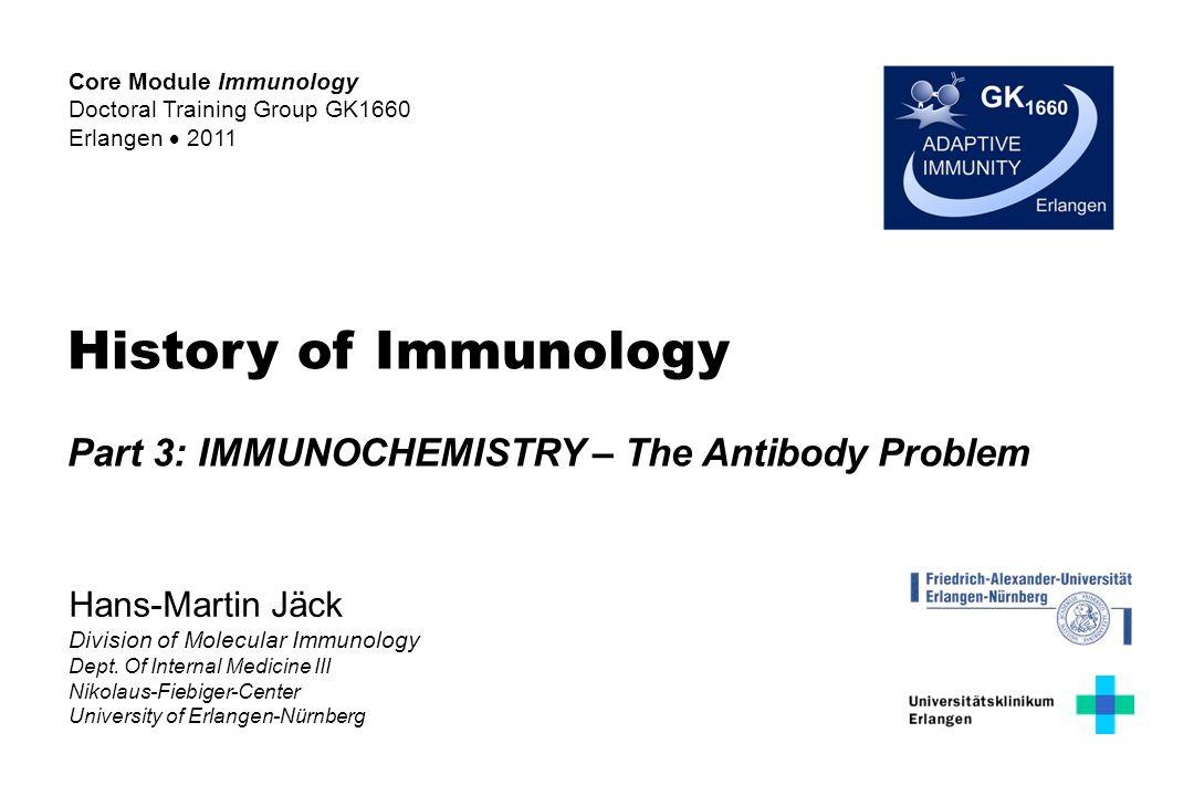 Immunochemistry of Antibodies o Antigens o Antibody-Antigen Interaction o Purification o Detection o Identification o Quantification o Structure