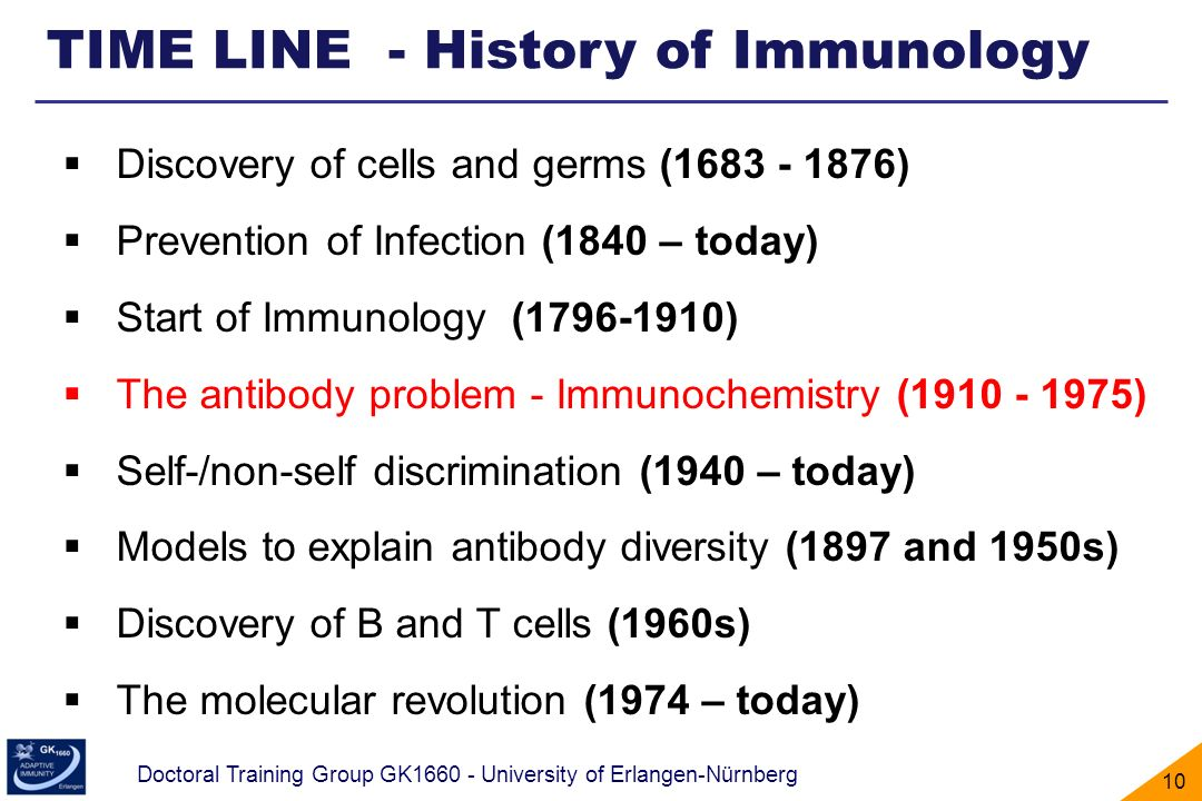 Doctoral Training Group GK1660 - University of Erlangen-Nürnberg 10 TIME LINE - History of Immunology Discovery of cells and germs (1683 - 1876) Preve