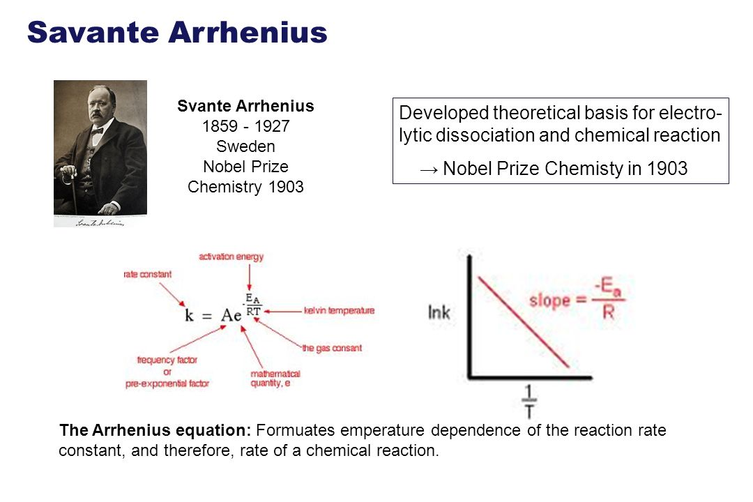 The Arrhenius equation: Formuates emperature dependence of the reaction rate constant, and therefore, rate of a chemical reaction. Svante Arrhenius 18