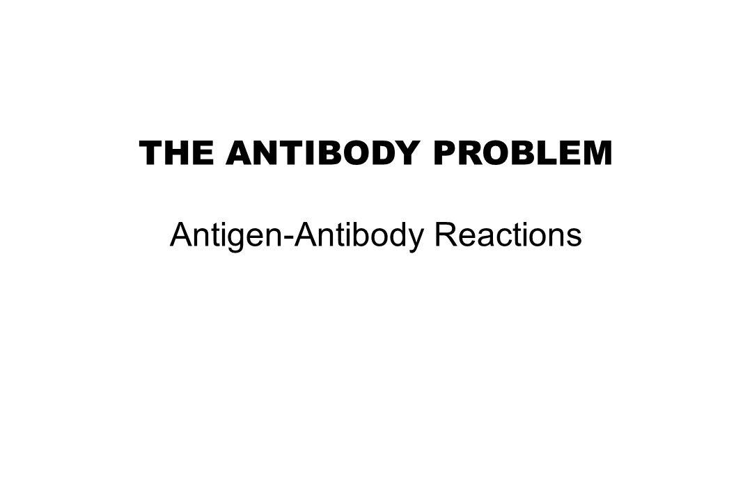 THE ANTIBODY PROBLEM Antigen-Antibody Reactions