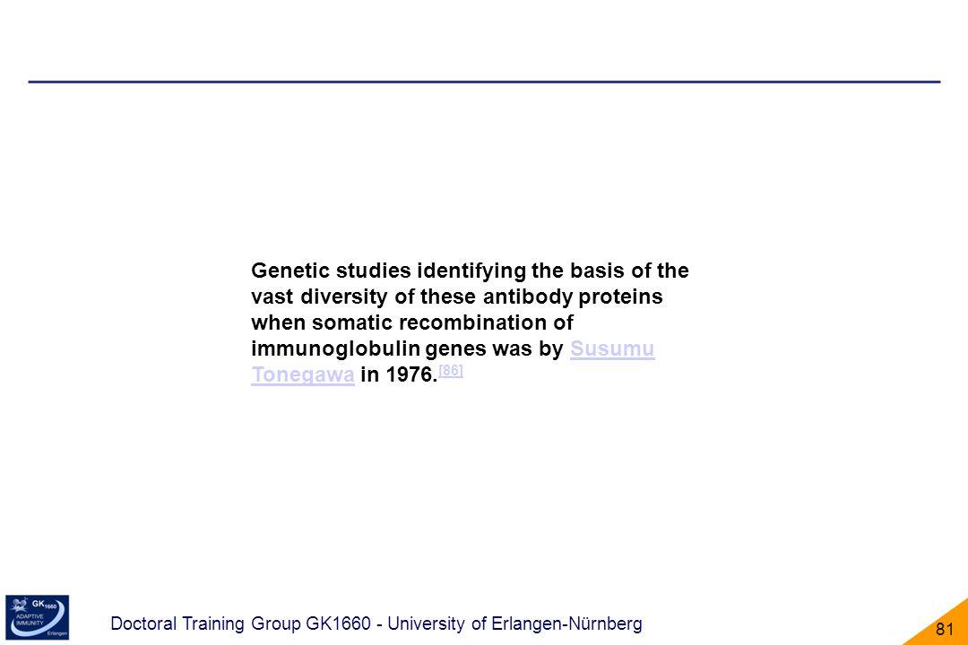 Doctoral Training Group GK1660 - University of Erlangen-Nürnberg 81 Genetic studies identifying the basis of the vast diversity of these antibody prot