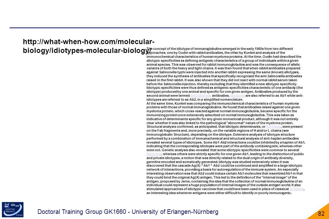 Doctoral Training Group GK1660 - University of Erlangen-Nürnberg 82 http://what-when-how.com/molecular- biology/idiotypes-molecular-biology/ The conce