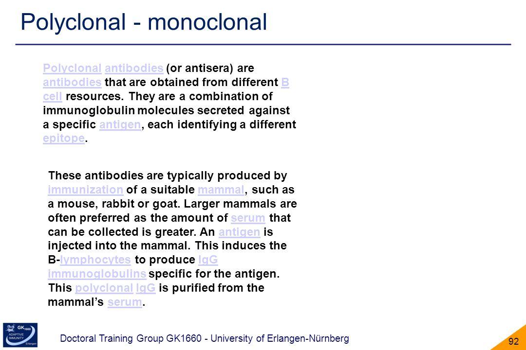 Doctoral Training Group GK1660 - University of Erlangen-Nürnberg 92 Polyclonal - monoclonal PolyclonalPolyclonal antibodies (or antisera) are antibodi
