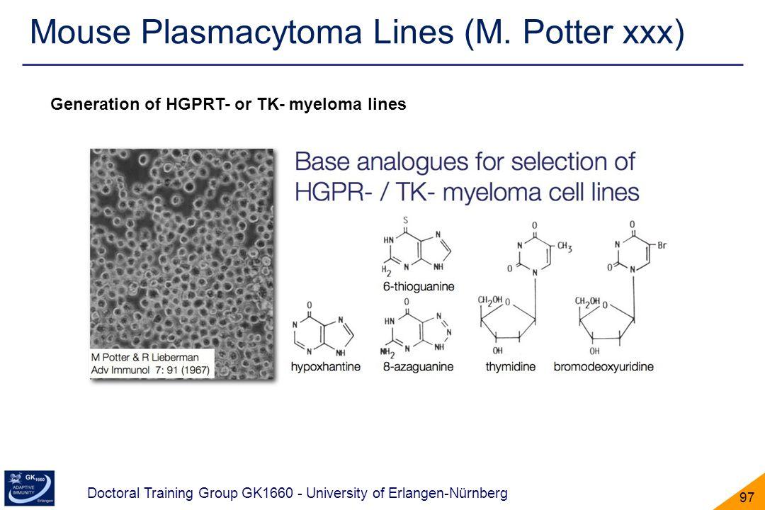 Doctoral Training Group GK1660 - University of Erlangen-Nürnberg 97 Mouse Plasmacytoma Lines (M. Potter xxx) Generation of HGPRT- or TK- myeloma lines