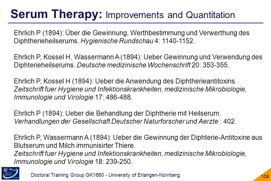 Doctoral Training Group GK1660 - University of Erlangen-Nürnberg 109 Ehrlich P (1894): Über die Gewinnung, Werthbestimmung und Verwerthung des Diphthe