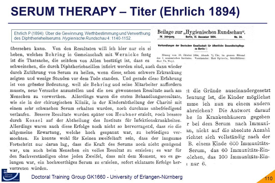 Doctoral Training Group GK1660 - University of Erlangen-Nürnberg 110 SERUM THERAPY – Titer (Ehrlich 1894) Ehrlich P (1894): Über die Gewinnung, Werthb