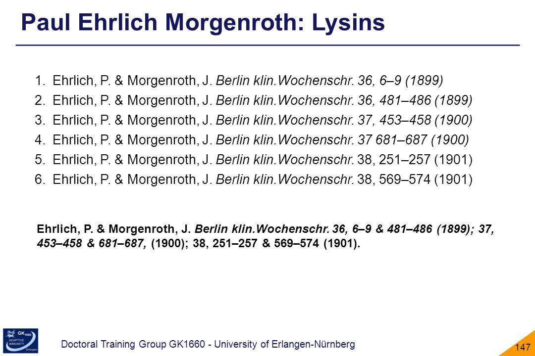 Doctoral Training Group GK1660 - University of Erlangen-Nürnberg 147 1.Ehrlich, P. & Morgenroth, J. Berlin klin.Wochenschr. 36, 6–9 (1899) 2.Ehrlich,